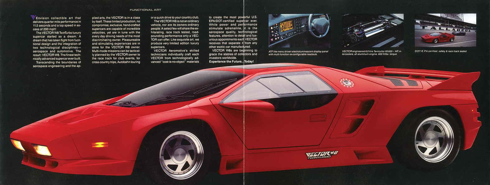Once the W8 (top, left) was launched, Wiegert turned his attention to his next generation of supercars, the Vector Avtech WX3 coupe and roadster, starring at the 1993 Geneva show.