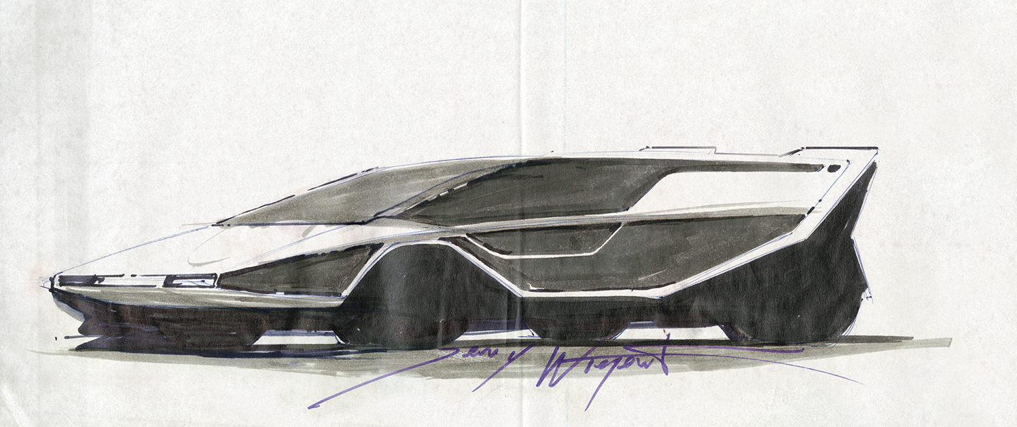 Jerry Wiegert, an industrial designer who was educated at the Center for Creative Studies in Detroit and ArtCenter College of Design in Los Angeles, made these early concept sketches of his future supercar for the 1972 Los Angeles Auto Expo.