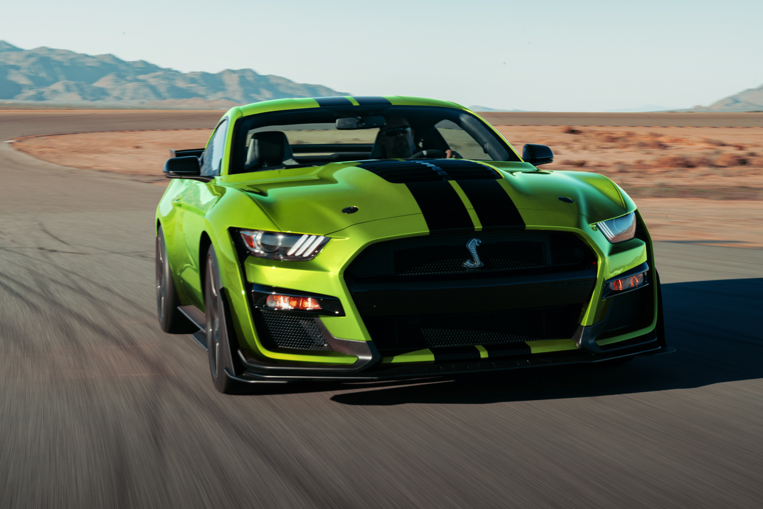 2020 Mustang GT500 in Grabber Lime front 3/4