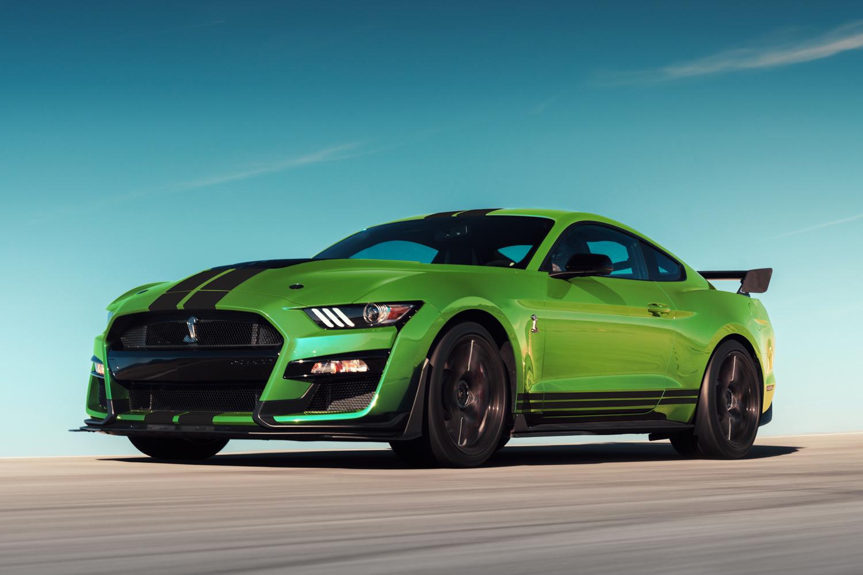 2020 Mustang GT500 in Grabber Lime rear 3/4