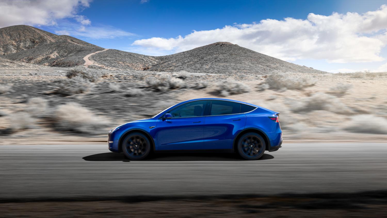 Tesla Model Y side profile blue