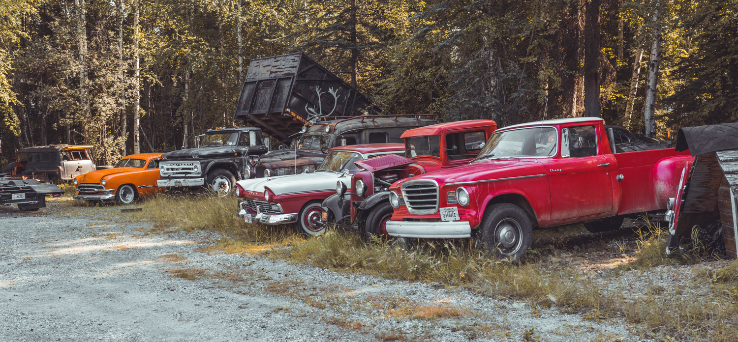 Barn Find Hunter Alaska cars in the woods