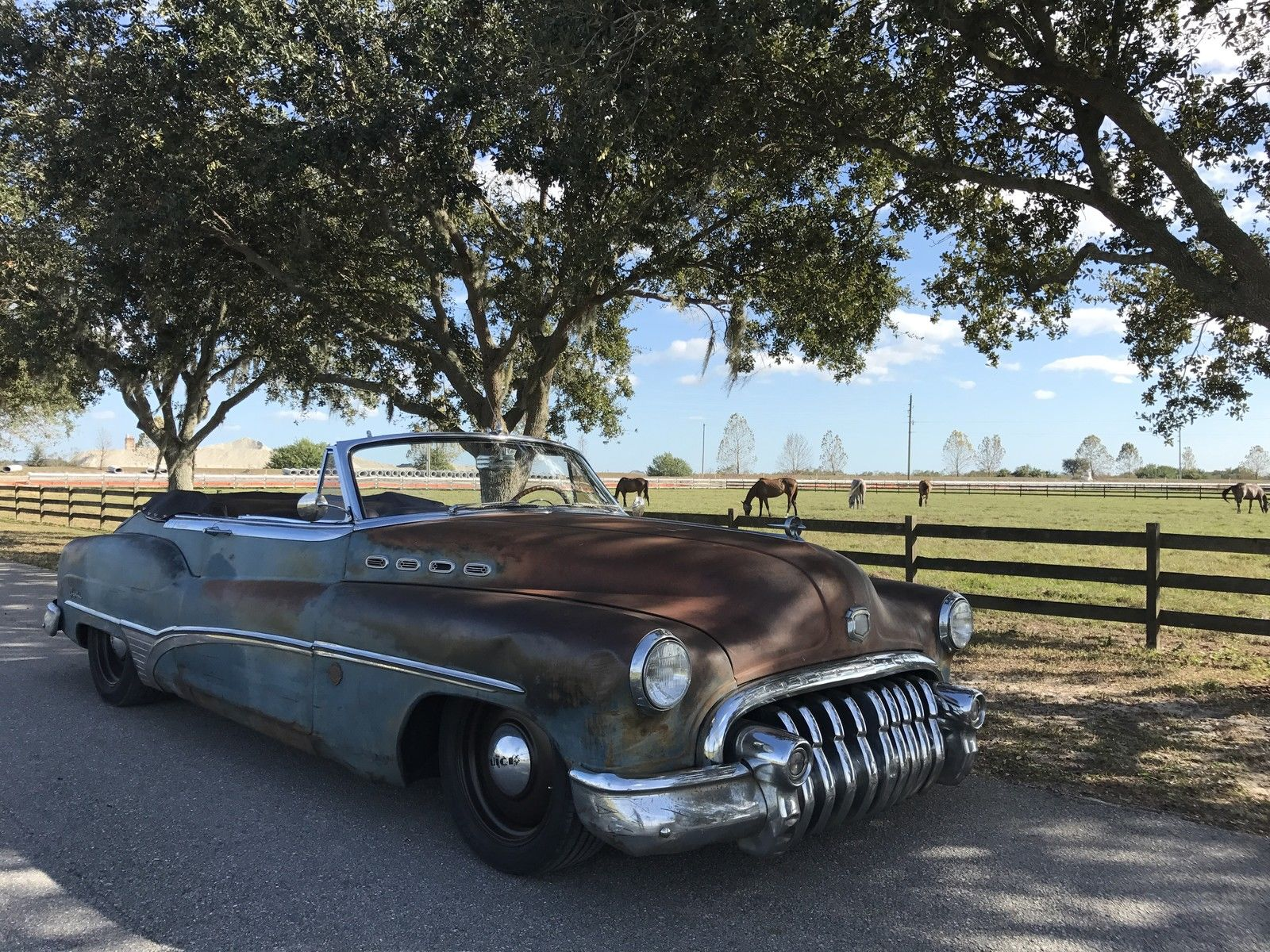 1950 Buick Roadmaster ICON Derelict 3/4 front shade horses