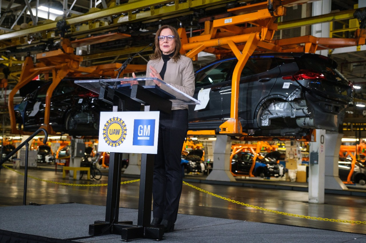 General Motors Chairman and CEO Mary Barra announces Friday, March 22, 2019, GM is investing $300 million in its Orion Township, Michigan, assembly plant to produce a new Chevrolet electric vehicle that will bring 400 new jobs to the plant.