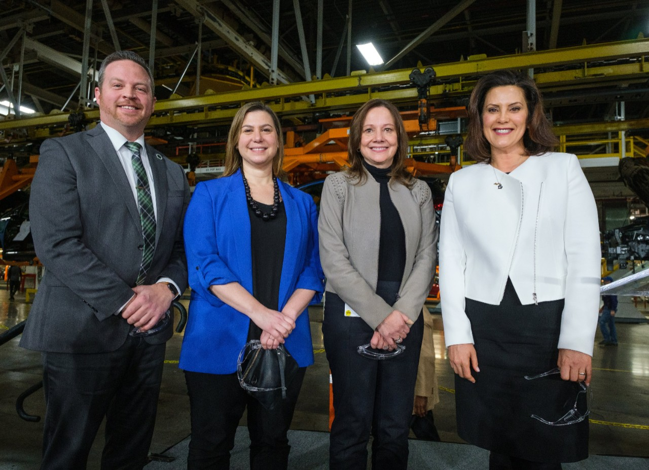 Orion Township Supervisor Chris Barnett (l to r), U.S. Rep. Elissa Slotkin (D-MI 8th District), General Motors Chairman and CEO Mary Barra and Michigan Governor Gretchen Whitmer Friday, March 22, 2019, after it was announced GM is investing $300 million in its Orion Township, Michigan, assembly plant to produce a new Chevrolet electric vehicle that will bring 400 new jobs to the plant.