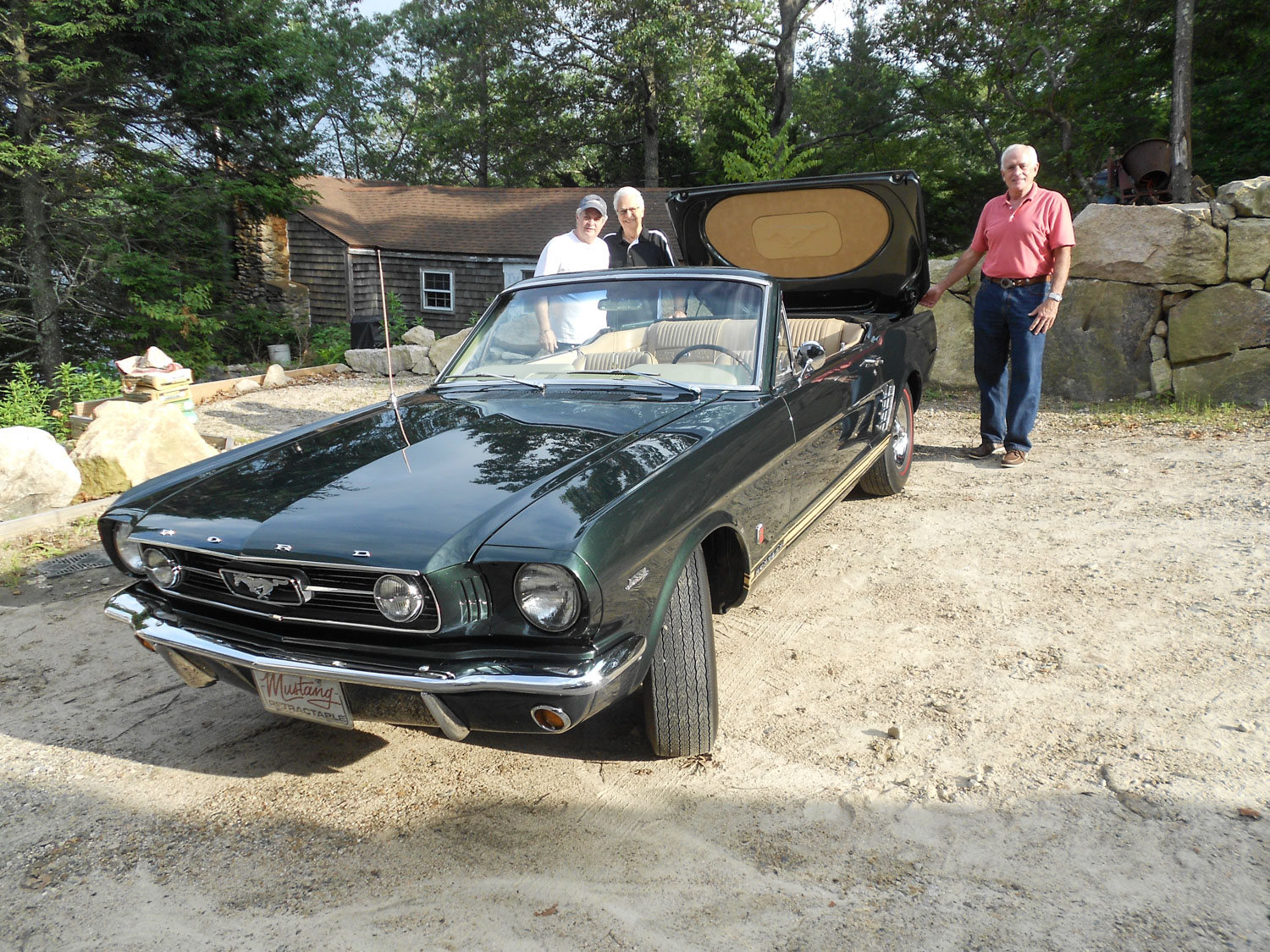 "1966 Ford Mustang ""Retractable Hardtop"" 3/4 front with friends"