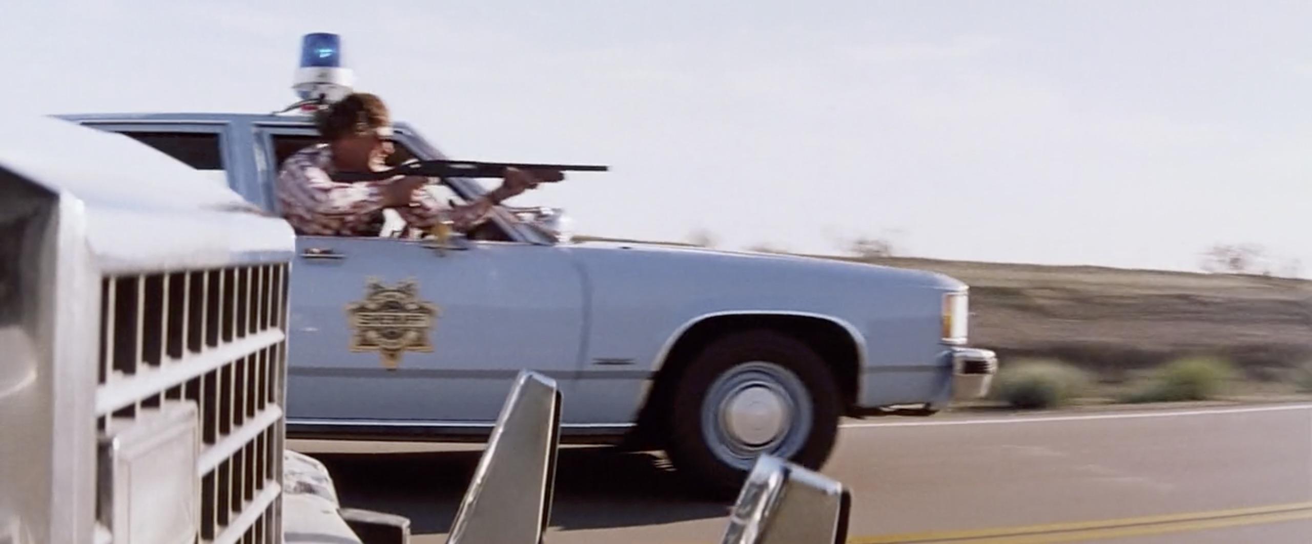 Hitcher cop shotgun in car chase