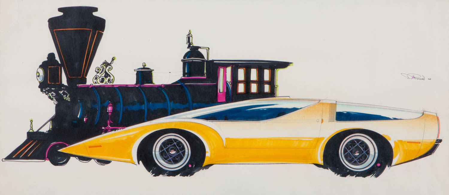 I returned to Detroit in late 1971 after spending six months with Opel in Germany. This sketch is a demonstration of my aesthetic and design philosophy at that time. The low, yellow, midengine car in side view and the very black and tall train engine present an image that is hard to justify visually. That was my point: the extreme contrasts of color and shape; the blocky and antique train engine as a backdrop to the new, low, sleek, and dramatic shape of a modern mid-engine, high-performance supercar.