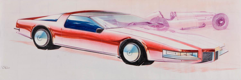 Olds Toronado design sketch Dick Ruzzin