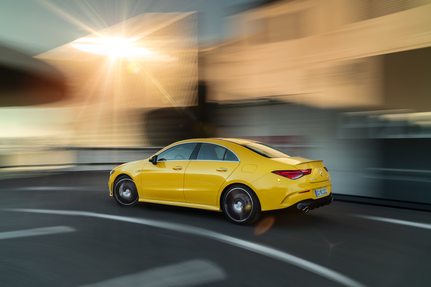 2020 Mercedes-AMG CLA 35 side view driving curve