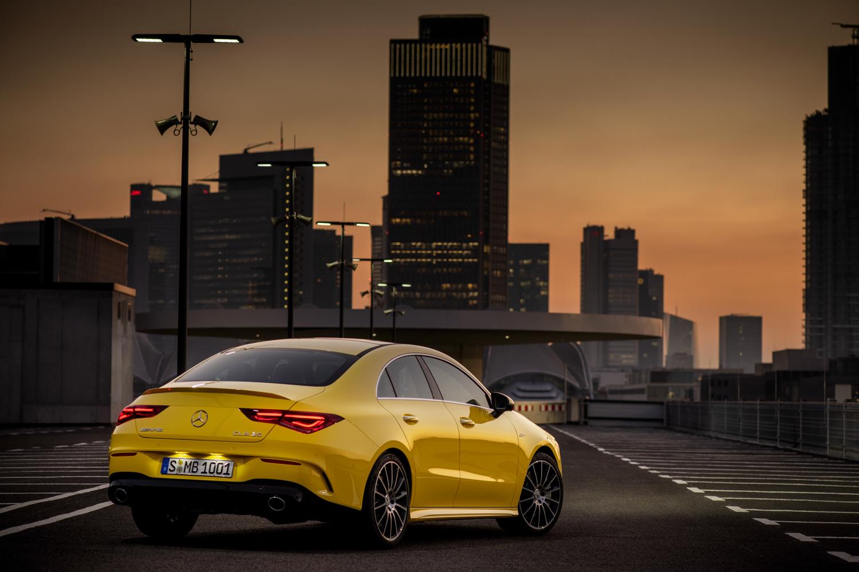 2020 Mercedes-AMG CLA 35 3/4 rear sunset