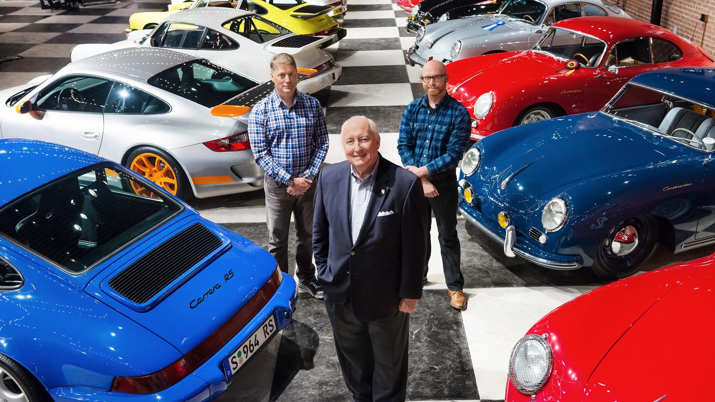 Bob Ingram, Rory (l.), Cameron Ingram, Porsche collectors