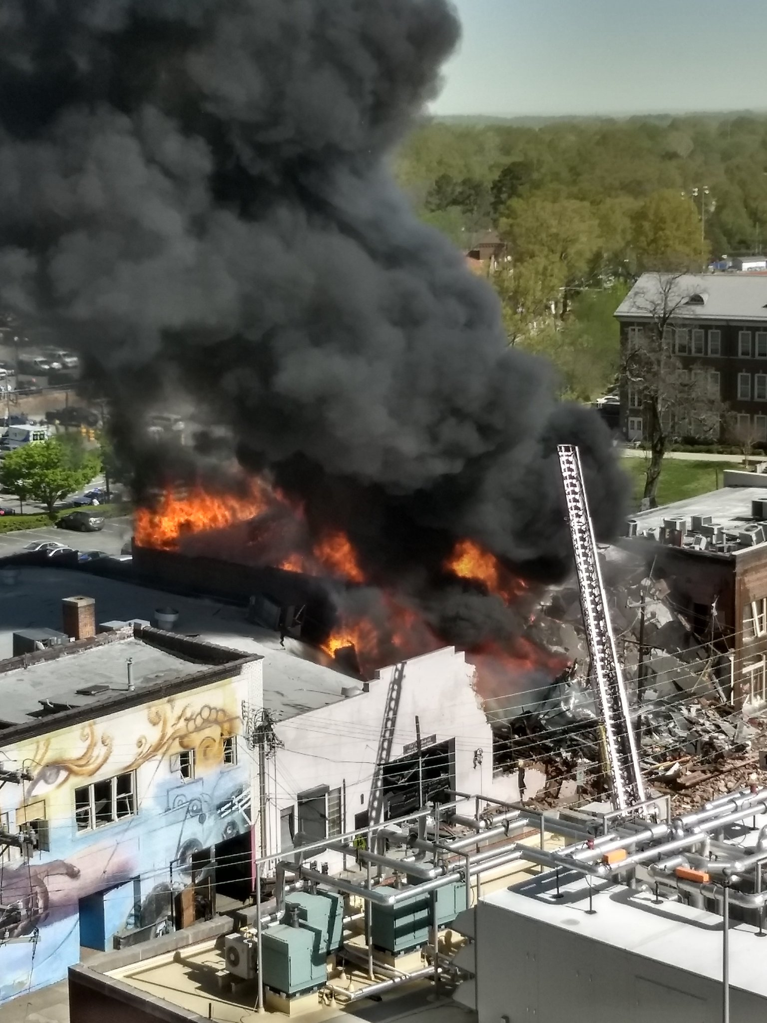 Gas explosion causes fire in Durham, North Carolina