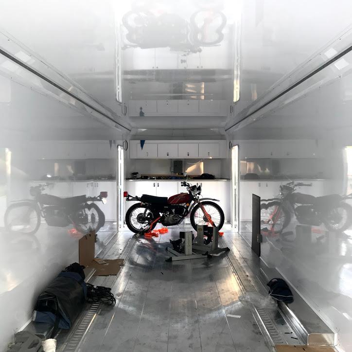 Kawasaki KE175 in trailer