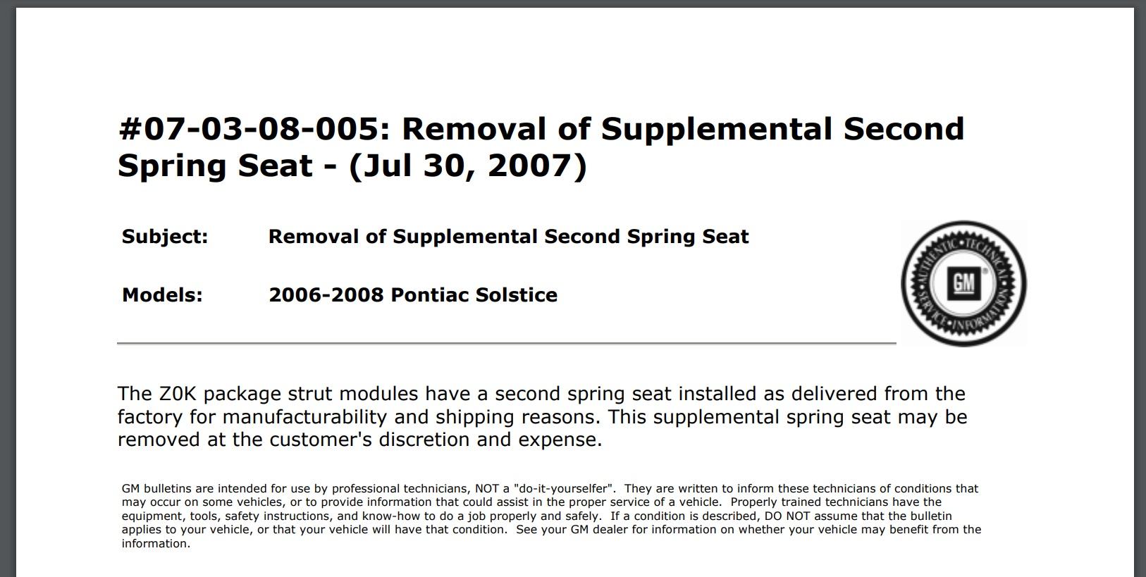 Pontiac solstice tsb notice