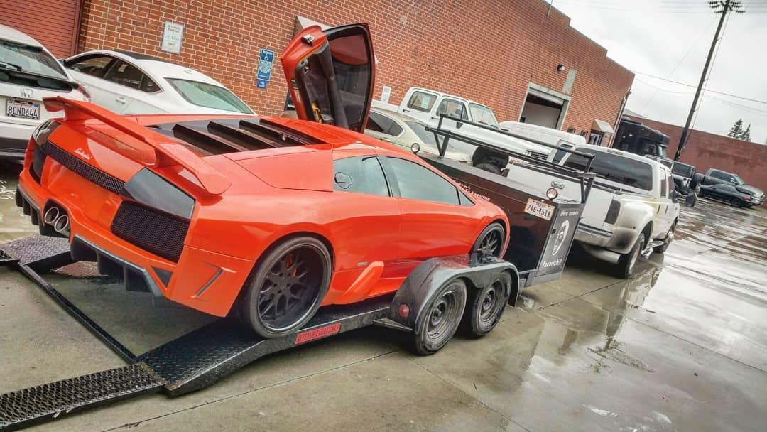 Lamborghini Murcielago loaded on the trailer