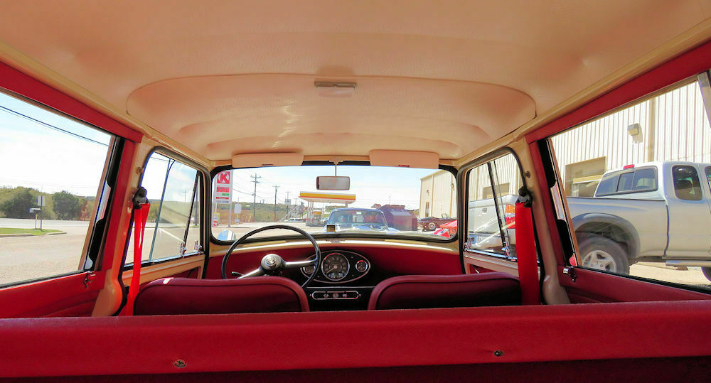 1964 Austin Mini Countryman view from the back seat
