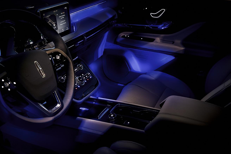 2020 Lincoln Corsair at night lights on interior