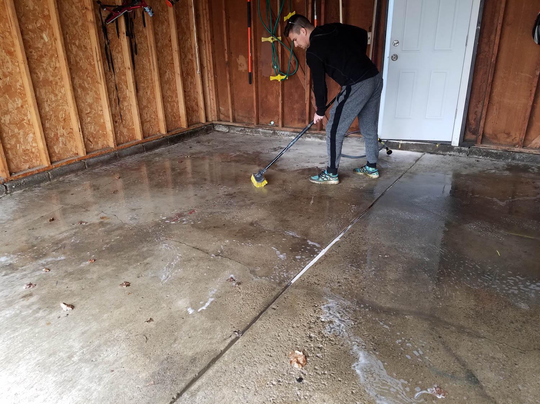 washing your garage floor