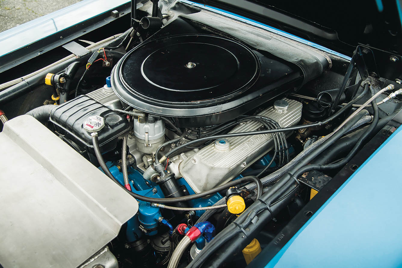 """After Ford's SOHC """"cammer"""" was banned in '64, Ford developed the Wedge from its FE V-8, so named for its wedge-shaped combustion chambers. The final version—the tunnel-port, run in '68 as both a 396 and 427— gave Pearson and Holman-Moody the '68 championship."""