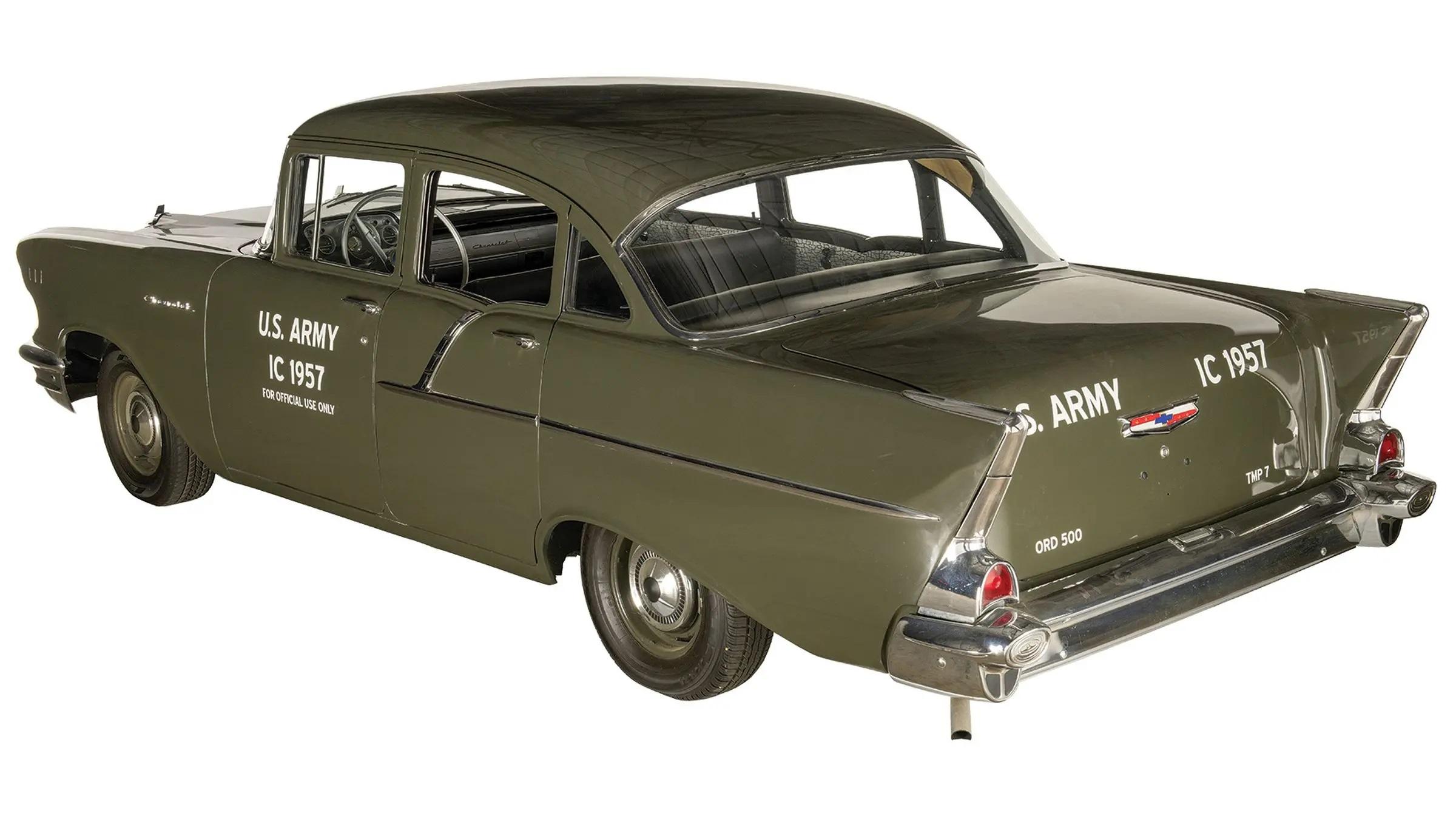 1957 Chevrolet Model 1503 Military Staff Car rear 3/4