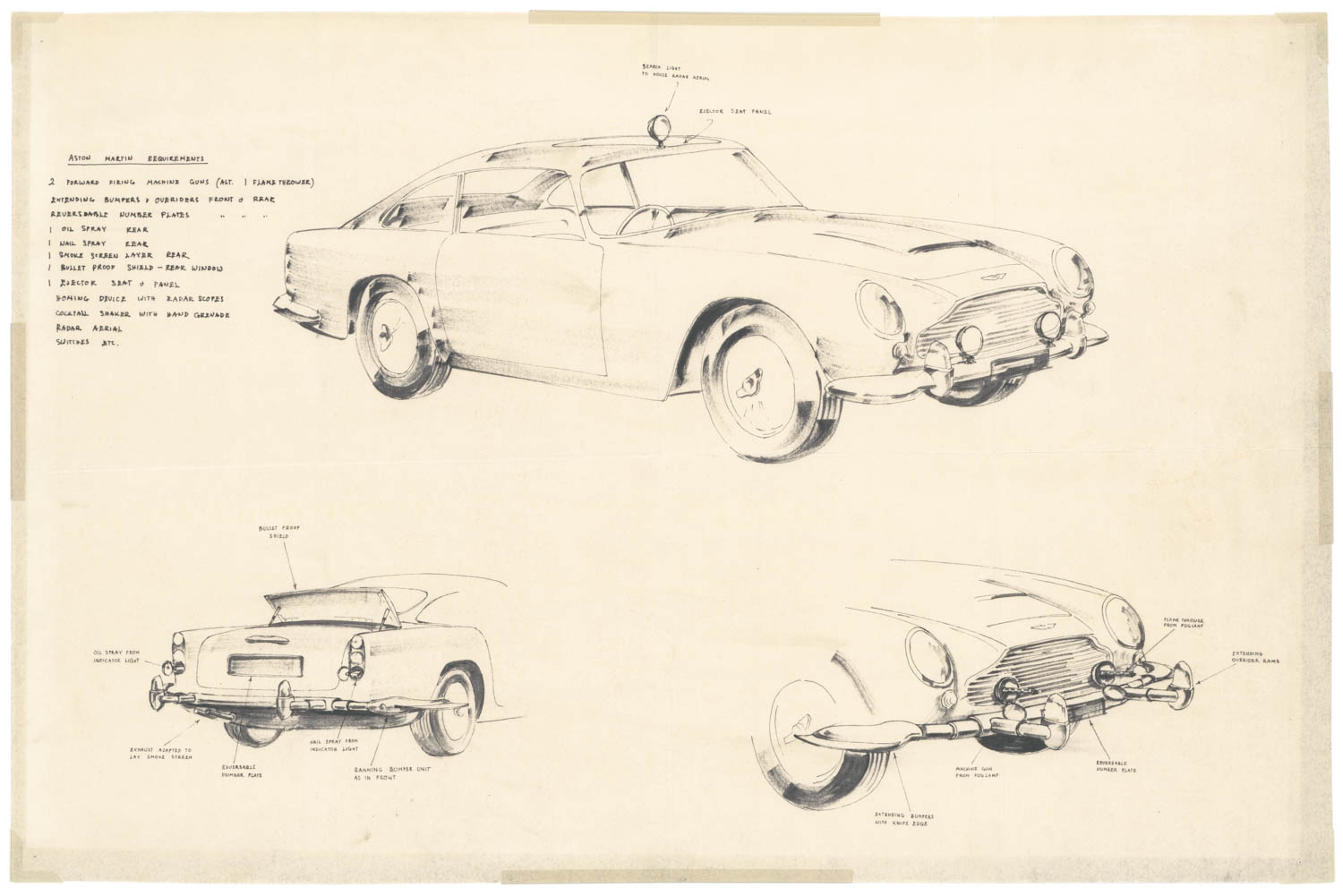 Goldfinger DB5 stunt car sketch