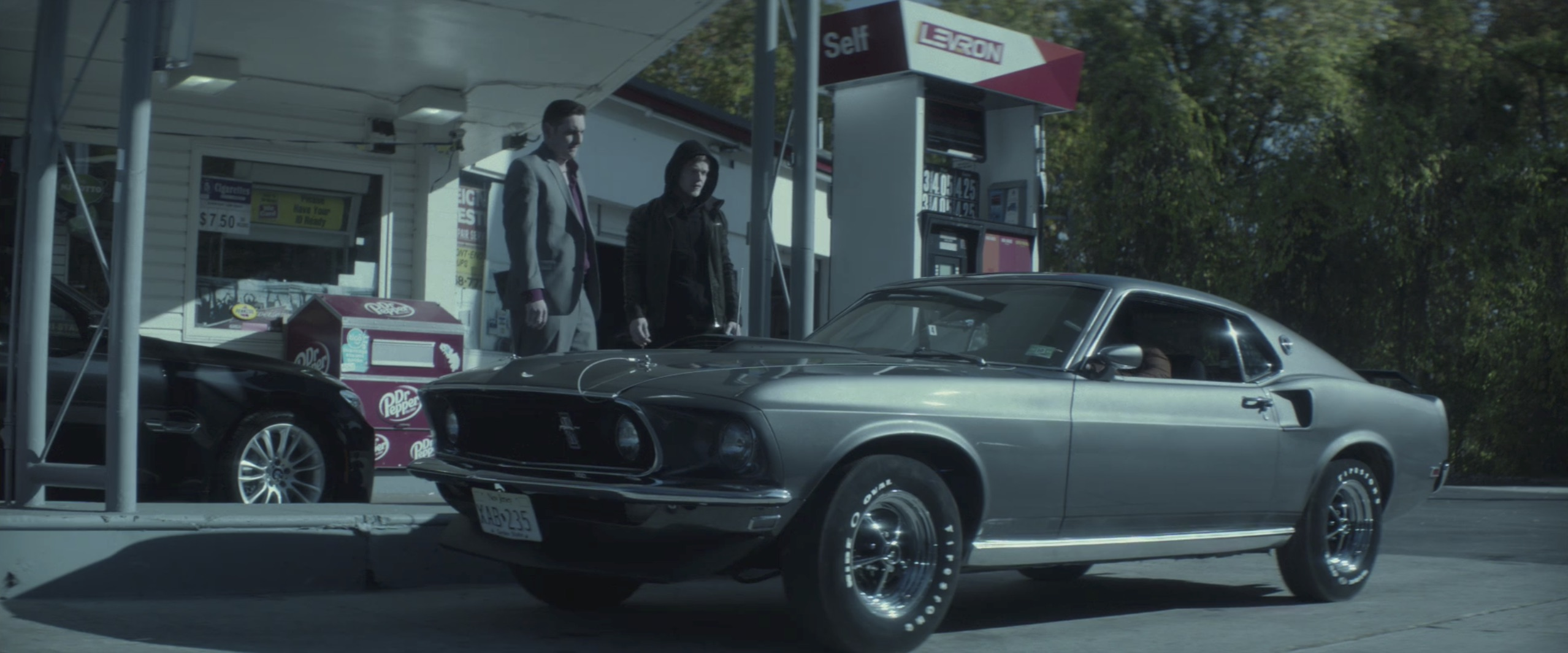 John Wick Mustang at a gas station
