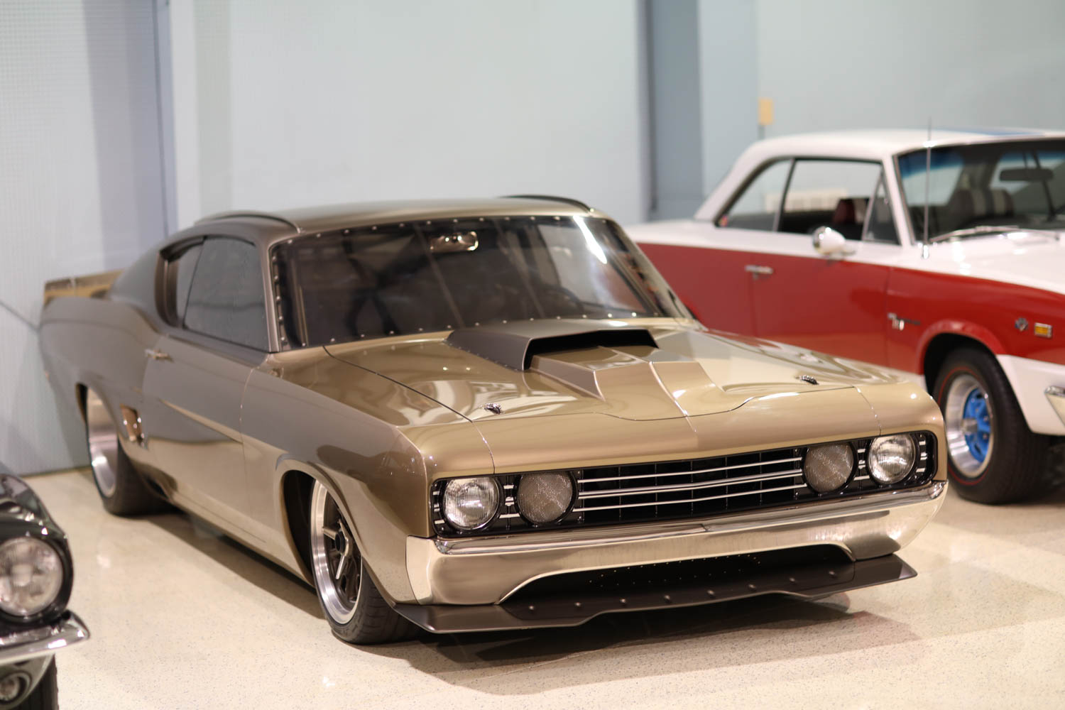 Built by Rad Rides by Troy as an homage to the Torino Talladega, this restomod is powered by a Jon Kaase Boss Nine V-8.