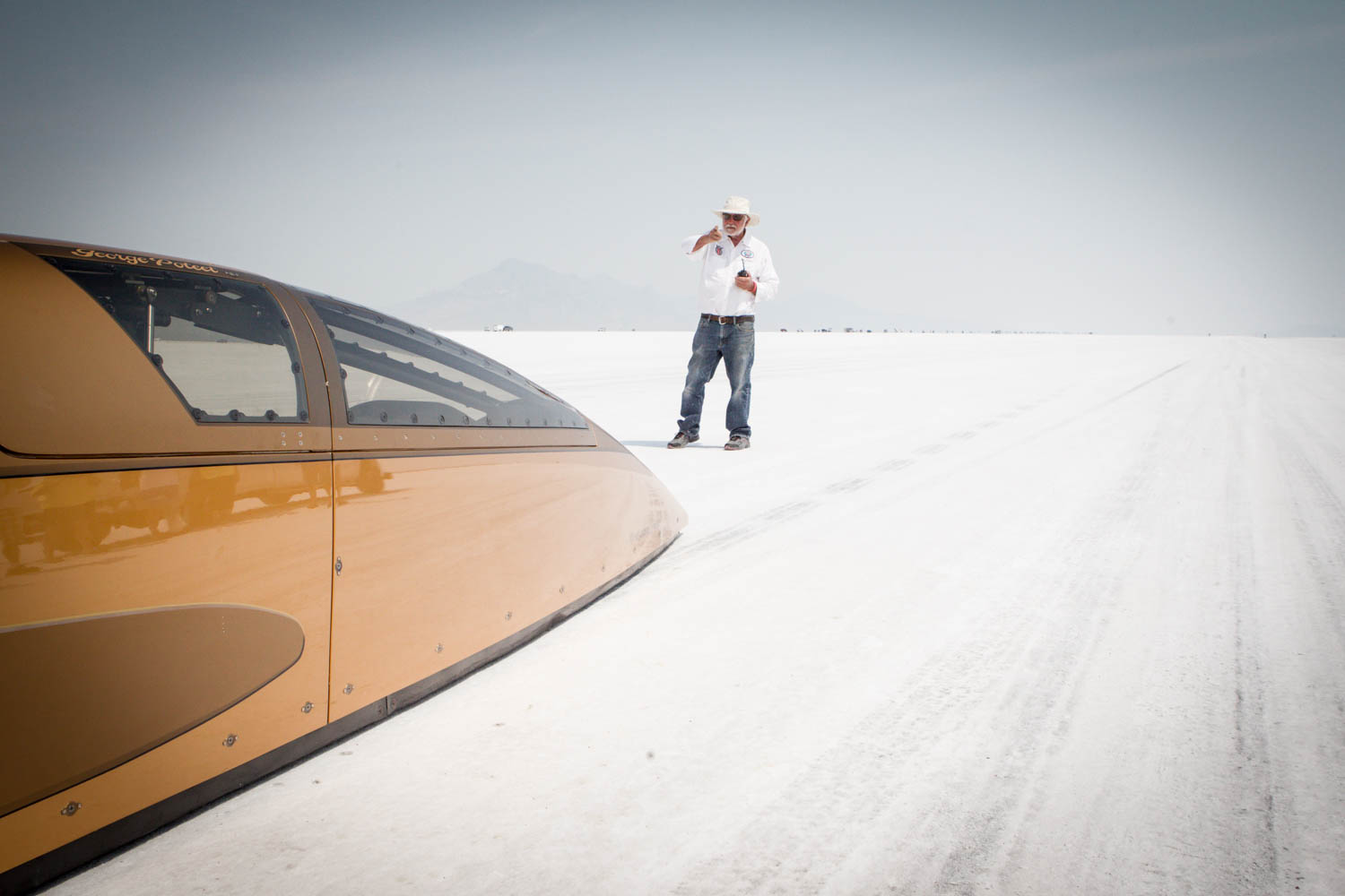 Once Poteet gets the go-ahead, there's nothing but nine miles of salt in front of him as he sets off down Bonneville's longest course.