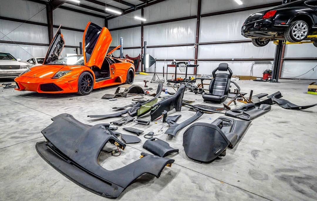 Lamborghini Murcielago parts laid out