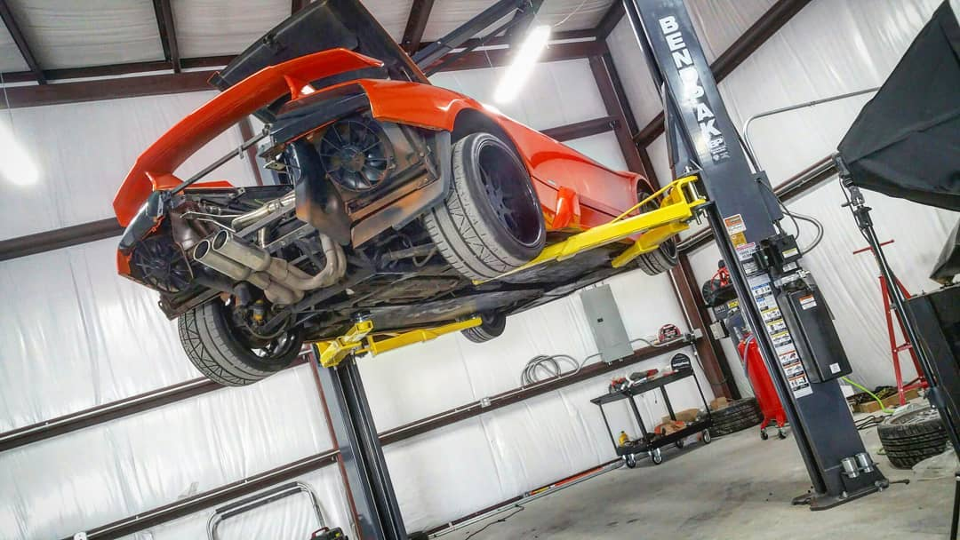 Lamborghini Murcielago on lift work being done