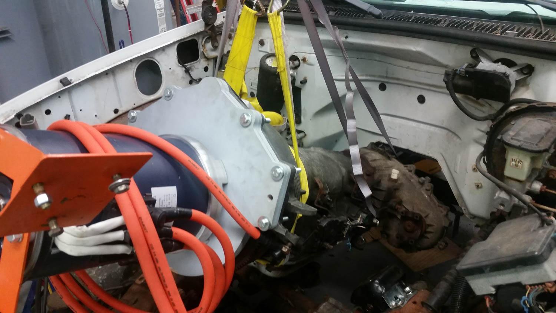 Volkswagen EV Rabbit pulling the engine