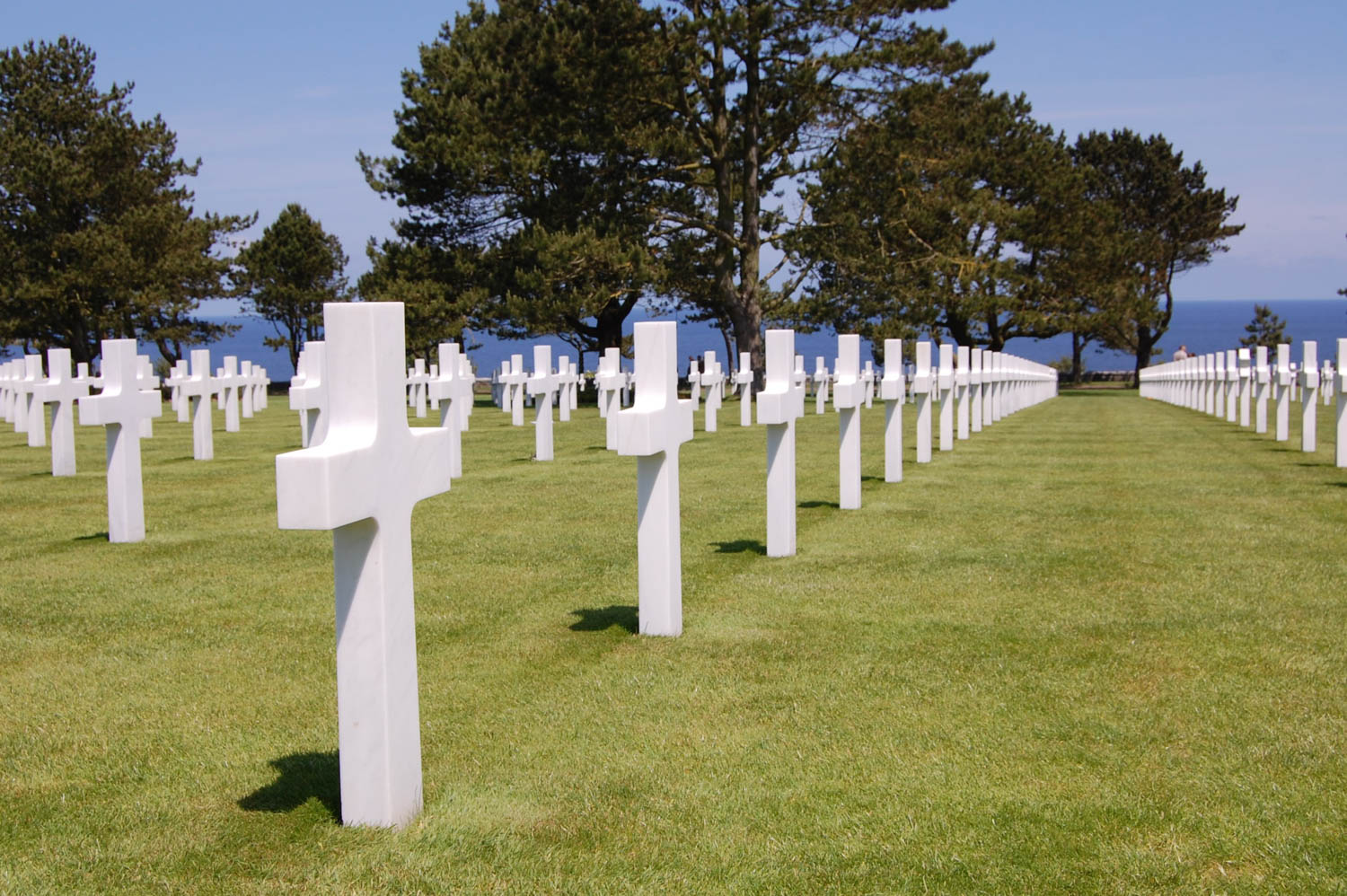 Rows of crosses and stars of David fill the U.S. military cemetery at Colleville-sur-Mer near Omaha Beach.
