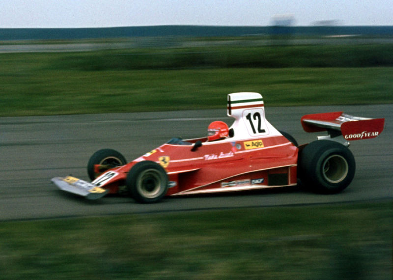 Niki taking Maggotts Copse at John Player Grand Prix, Silverstone (1975)