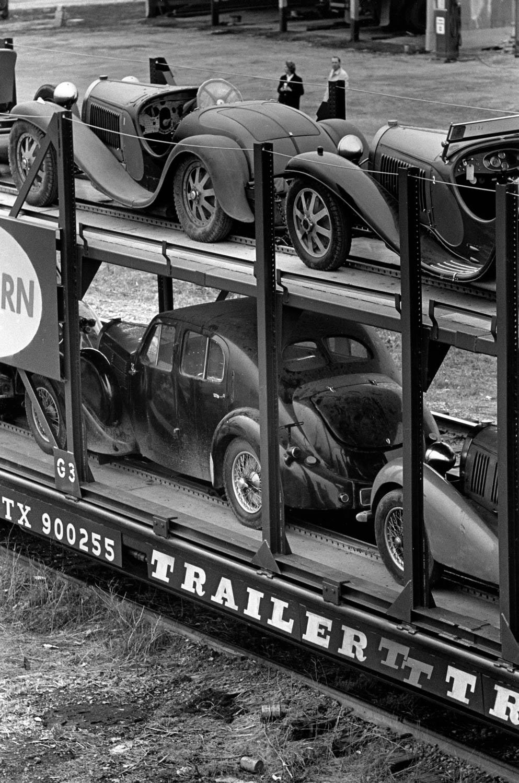 Bugattis on trailer
