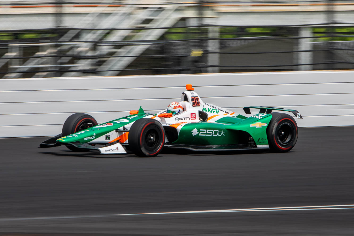 Kyle Kaiser racing around Indy