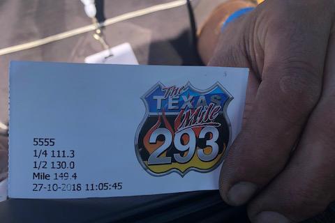 Texas Mile Time slip