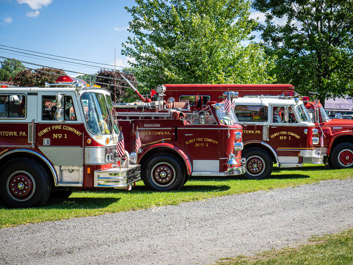 Hagerty member Ron Smith of Allentown, PA, brought out his fleet of vintage fire trucks, including American LaFrance and Hahn machinery. Each is a truck he served on during a long stint as a volunteer firefighter.