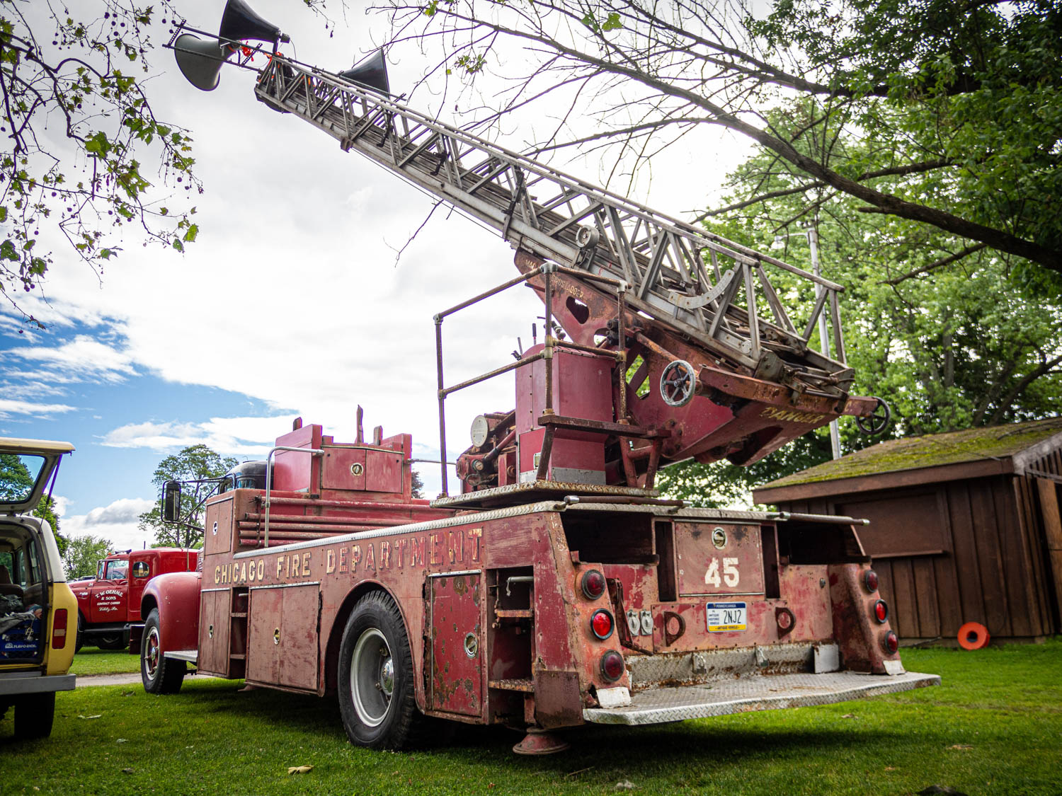 This ancient Mack ladder truck was repurposed as the meet's PA system. Quite handy.