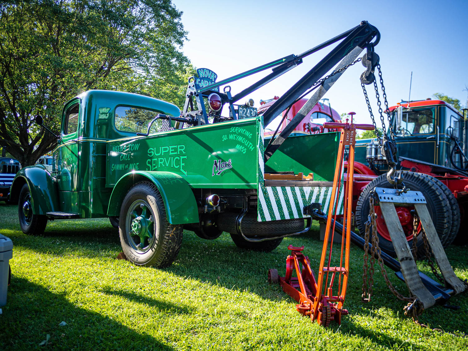 This 1939 Mack ED tow truck was custom-built in Massachusetts by its longtime owner. Originally a flatbed, during the restoration he fitted the current bed from an old fire truck, then found the hand-operated Manley wrecker crane at a swap meet.
