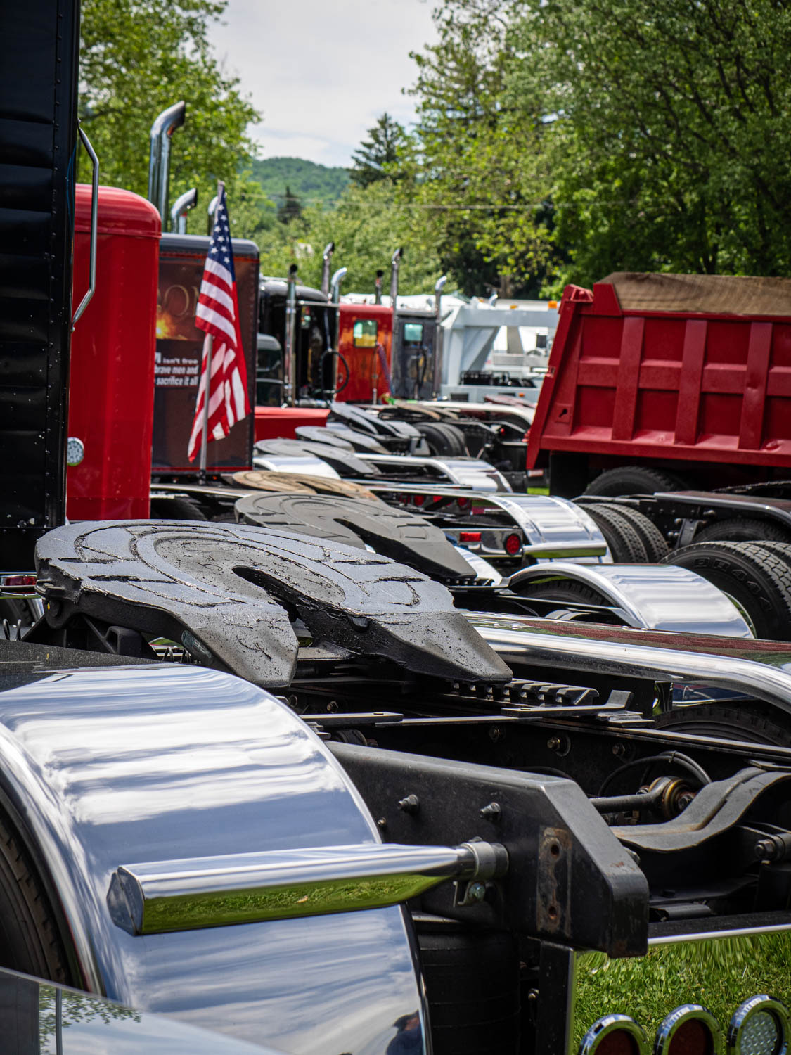 Many of the show trucks in the park were also work trucks, which meant greasy fifth wheels ready to hook up and go.
