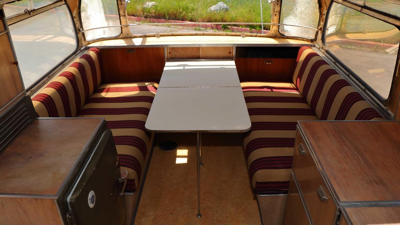 1955 Porsche Tempo Mikafa Sport Camper interior bench seat and table