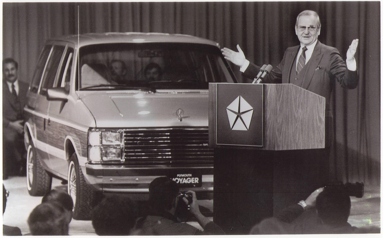 Lee Iacocca unveils the Minivan in 1983