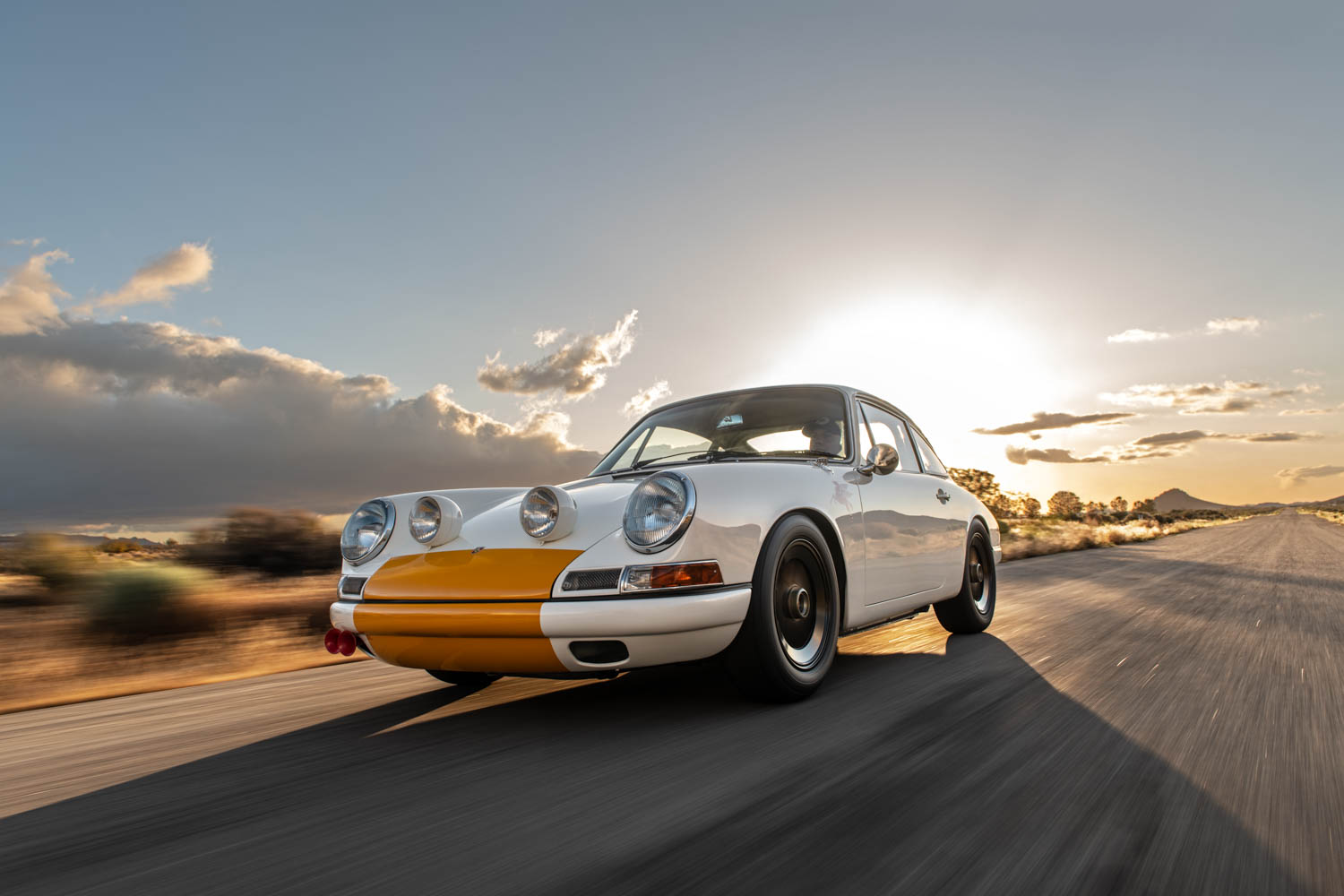Emory Porsche 911K front 3/4 at sunset