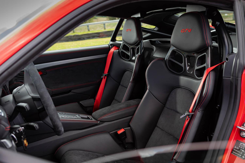 Porsche 718 Cayman GT4 seat detail