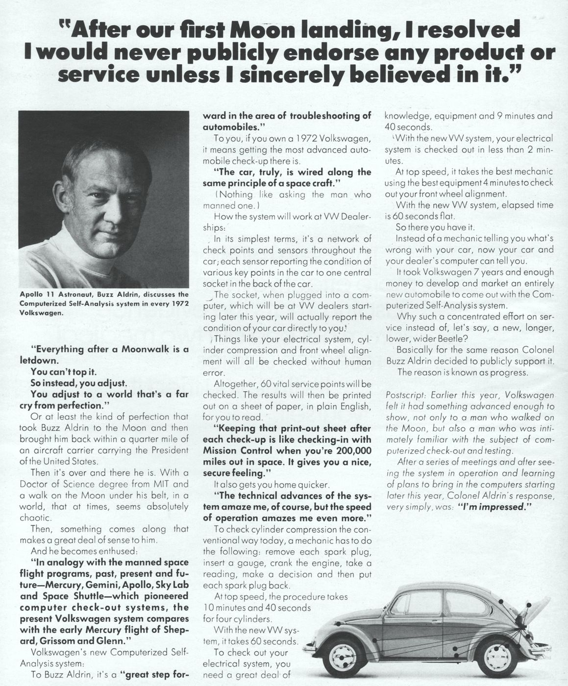 "Edwin ""Buzz"" Aldrin Volkswagen Advertisement"
