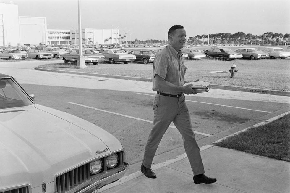 Neil Armstrong arrives prior to launch in July 1969
