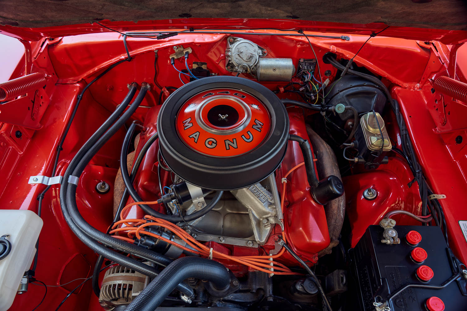 The largest of five available U.S. Charger engines offered in 1969 was the Magnum 440, good for 375 horsepower and about 12 mpg if you were easy on the gas.