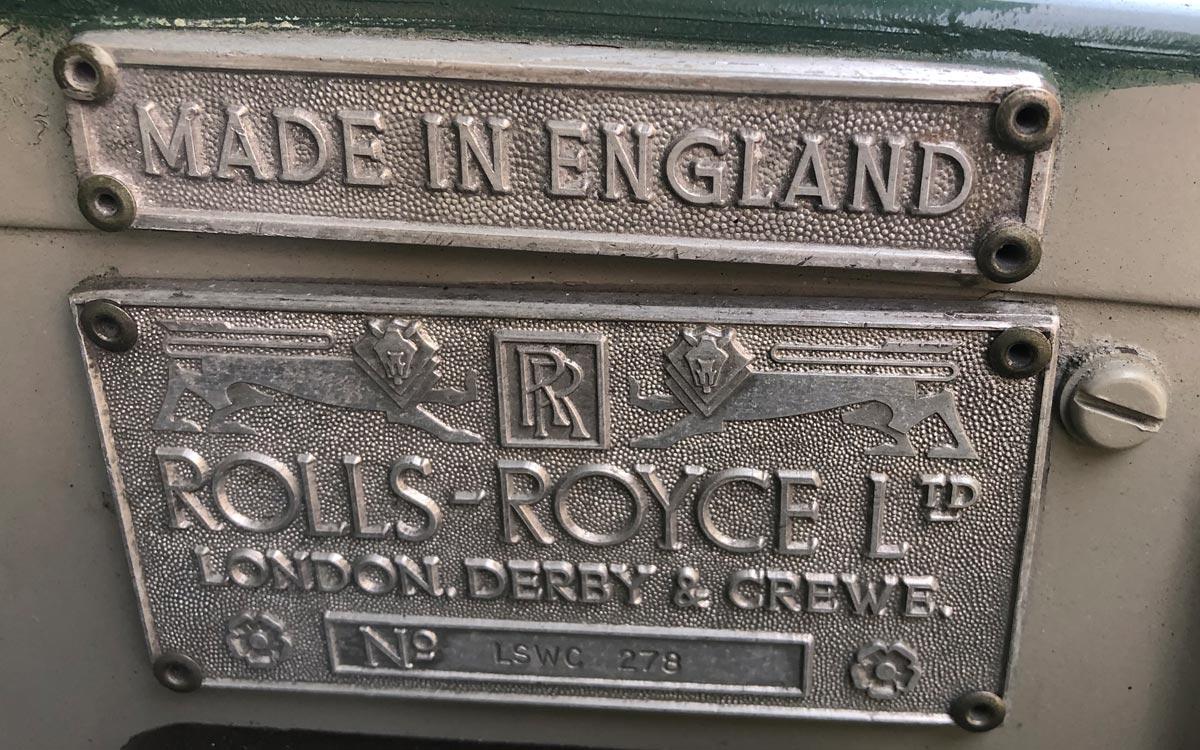 1960 Rolls Royce Silver Cloud II plaque