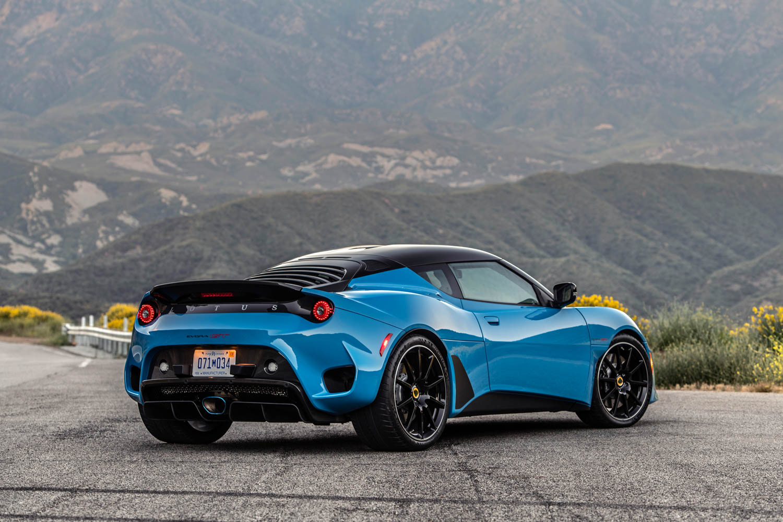 Blue 2020 Lotus Evora GT rear 3/4